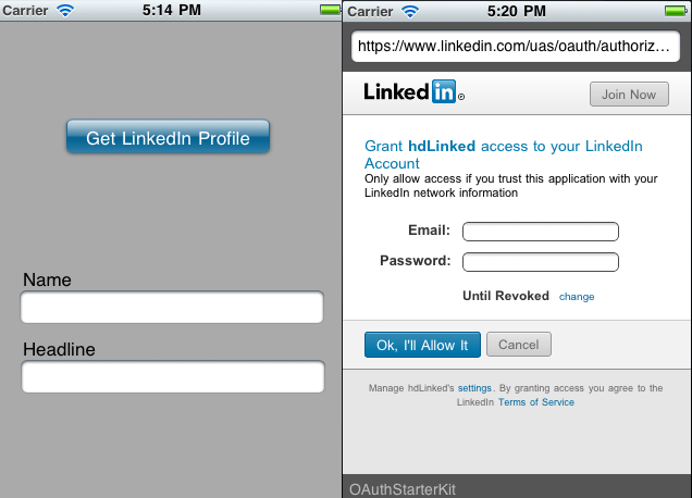 Custom linkedin button for share and auth